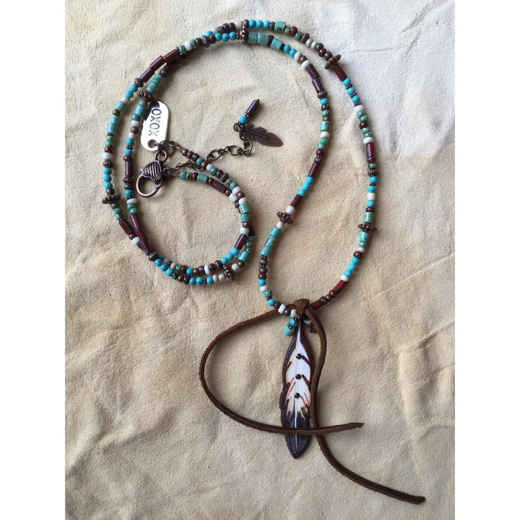 Tasha Feather Picasso Beaded Necklace