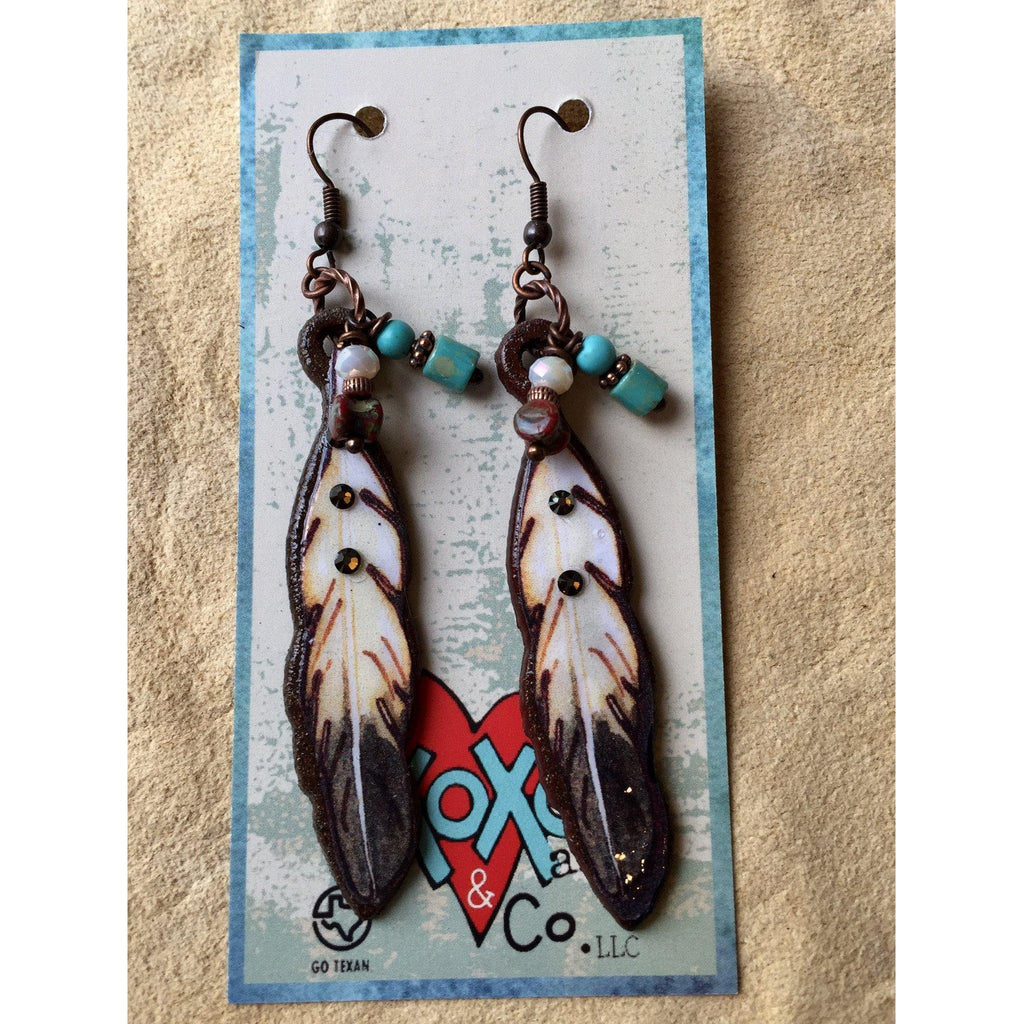 Tasha Feather Earrings - West 20 Saddle Co.