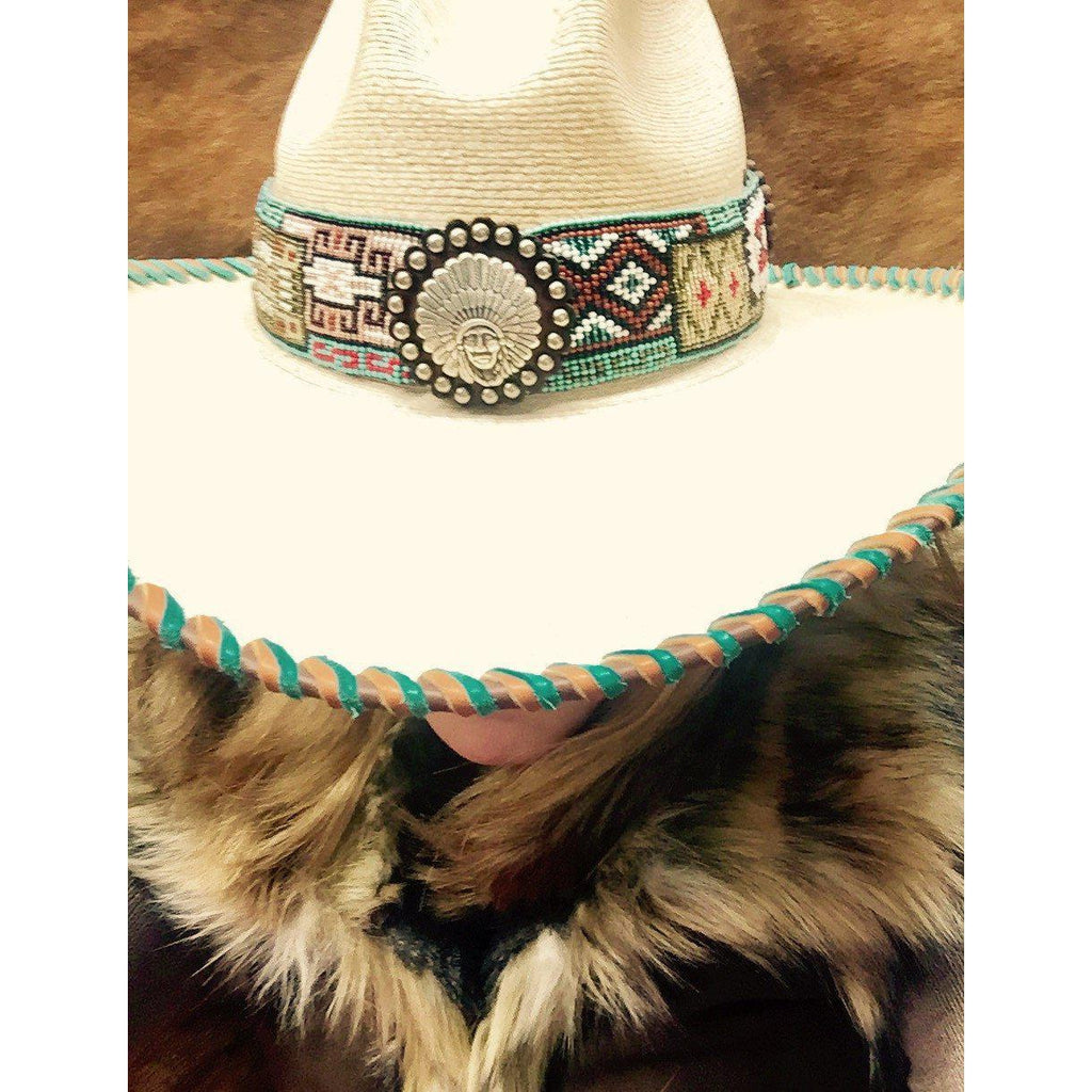 Ladies Gus Styled Hat with Turquoise Beaded Band
