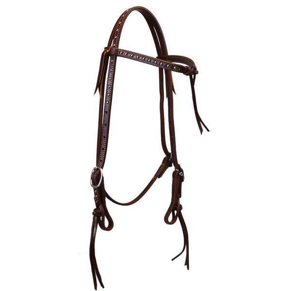 "5/8"" Double and Stitched Futurity Browband Headstall with Dots"
