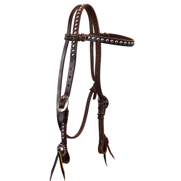 Browband Headstall with Large Dots and Cart Buckles