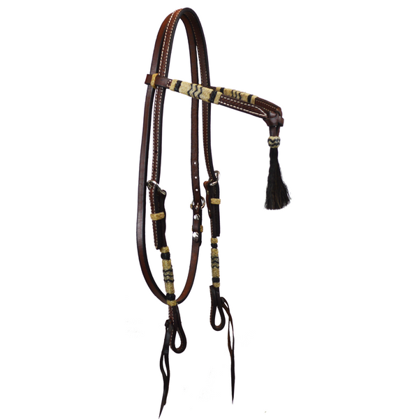 Oiled Tooled Futurity Knot Browband Headstall with Rawhide