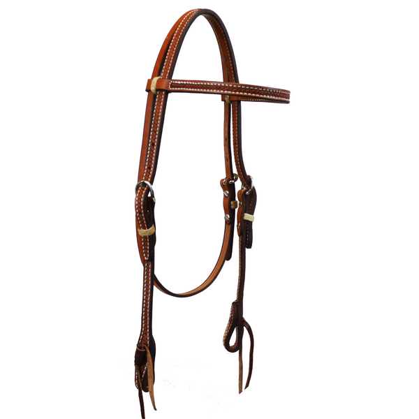 Natural Tooled Basket Weave Browband Headstall