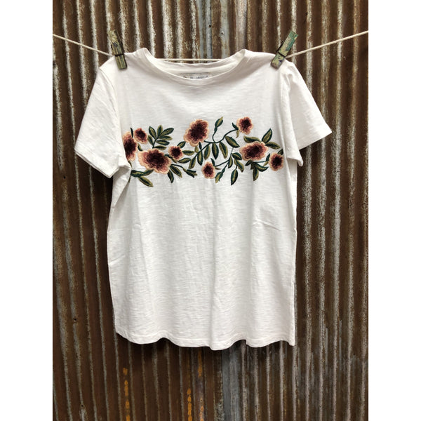 Montana Co Womans Tee with Floral Embroidery