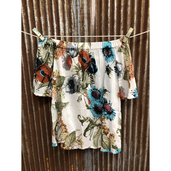 Montana Co Womans Off Shoulder Floral Top
