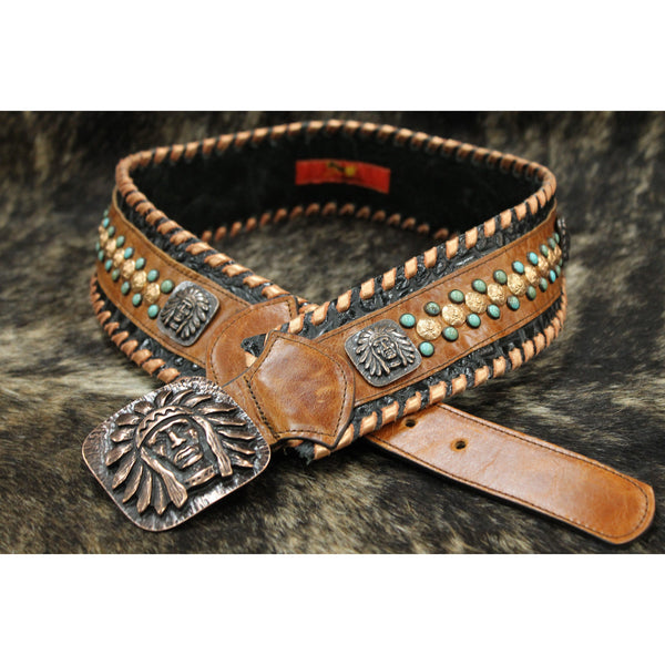 KurtMen Black Croc/Saddle/Co Fashion Belt - West 20 Saddle Co.