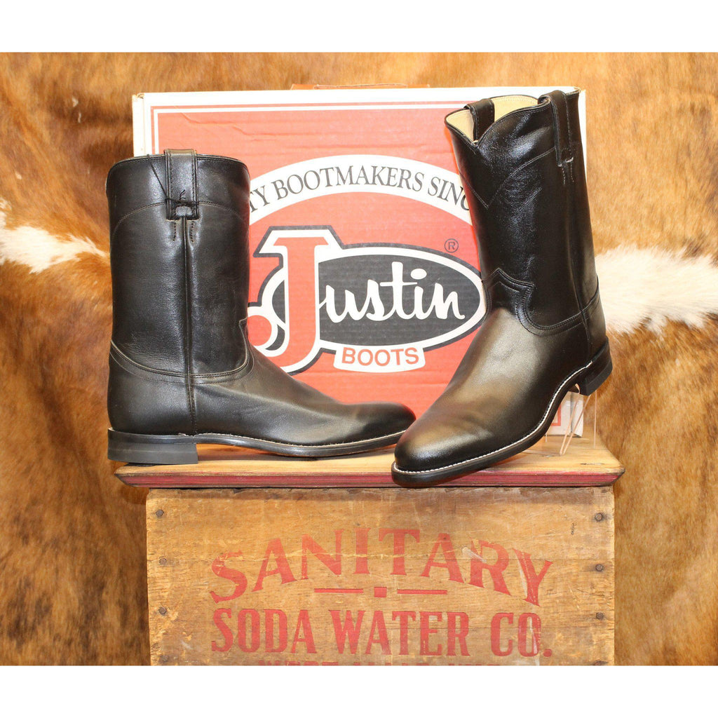 Justin Men's Black Kipskin Roper Boots - West 20 Saddle Co.