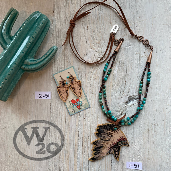 Leather Necklace with Indian Headdress Pendant and Arrowhead Earrings