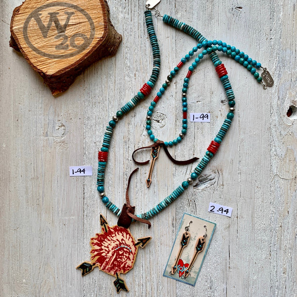 Arrow Necklaces and Earrings with Turquoise and Leather
