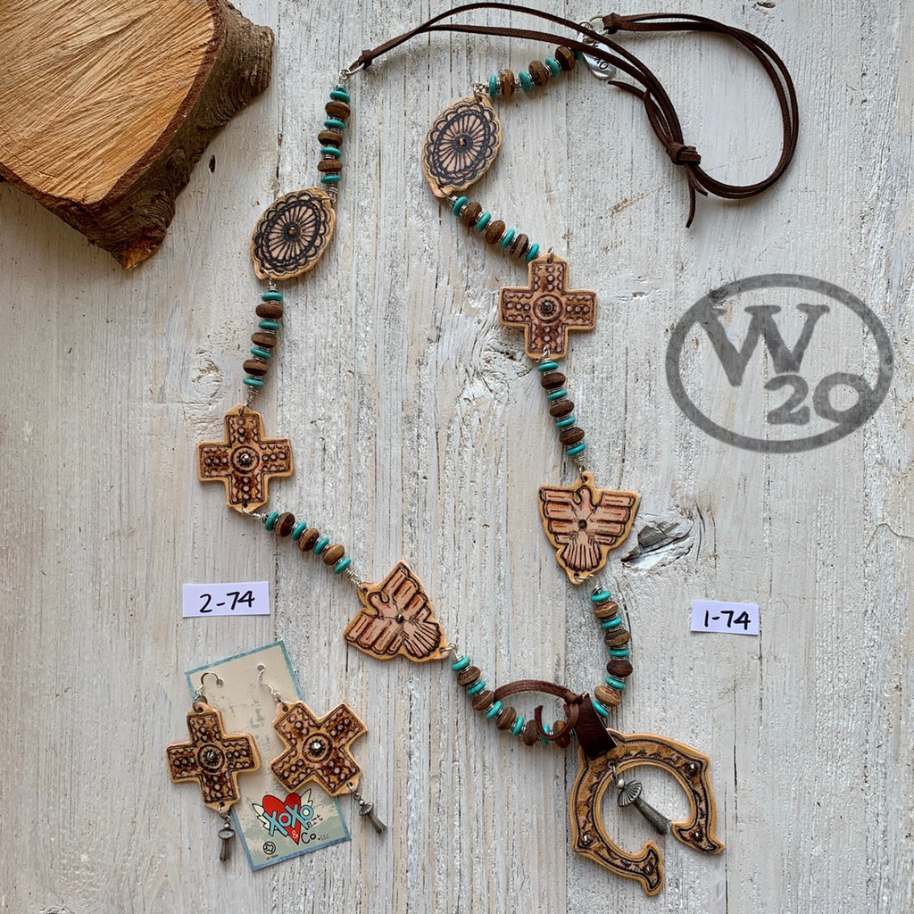 Peyote Squash Blossom Necklace and Cross Earrings