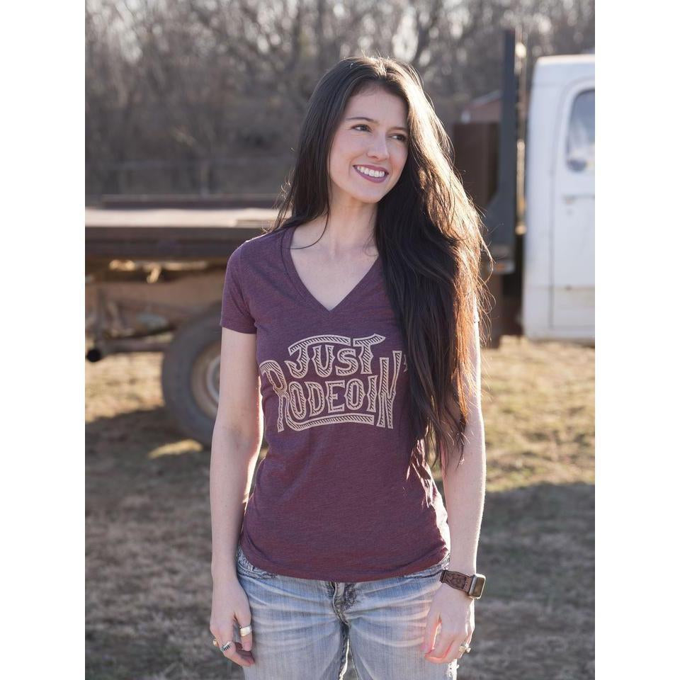 Dale Brisby Ladies Just Rodeoin Deep V Neck Tee - West 20 Saddle Co.
