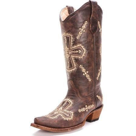 57f92db21fe Corral Boots Circle G Women's Brown Crackle/Cross Boot