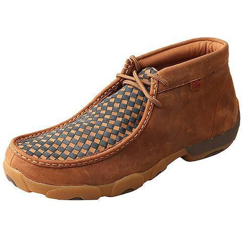 Twisted X Mens Chukka Driving Moccasins-Oiled Saddle/Blue