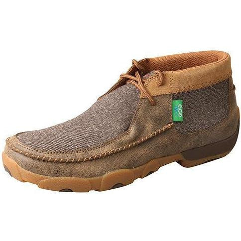 Twisted X Mens Chukka Driving Moccasins-Bomber/Dust