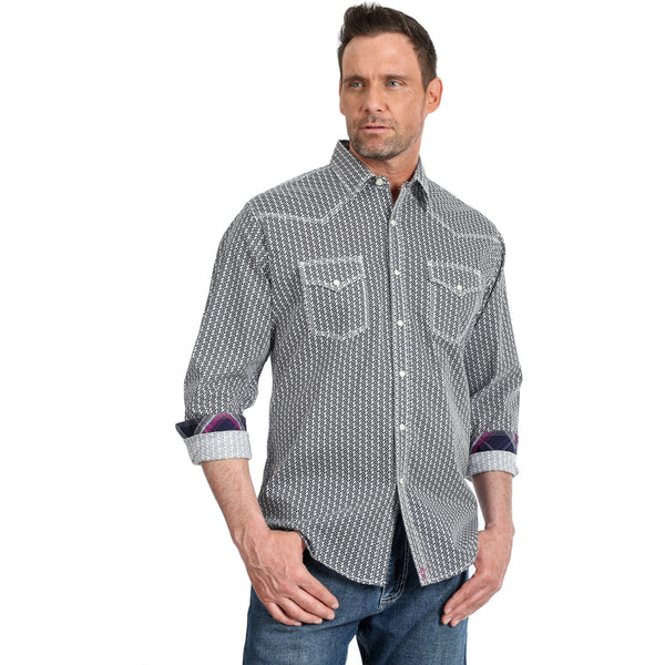 Wrangler Mens 20X Navy and White Competition Shirt