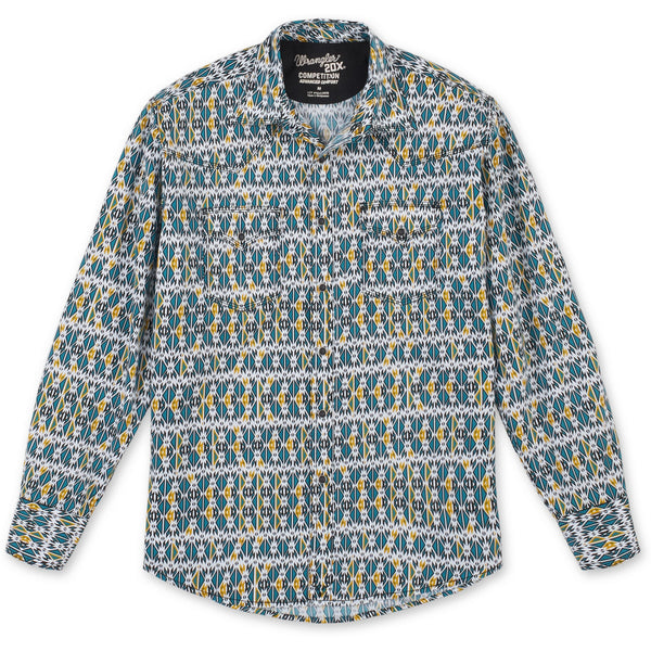 Wrangler Men's 20X Competition Long Sleeve Print Shirt-Teal