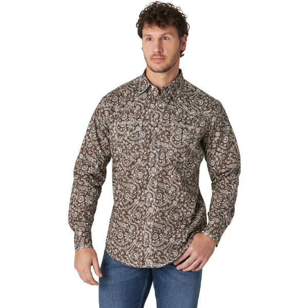 Wrangler Men's 20X Competition Long Sleeve Western Snap Shirt-Olive Floral