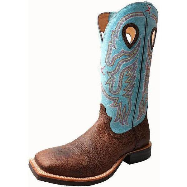 Twisted X Men's Ruff Stock Boot – Brown Distressed/Blue - West 20 Saddle Co.