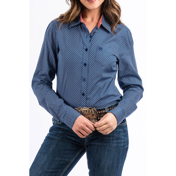 Cinch Ladies Blue Western Pattern Arena Fit Button Down Shirt