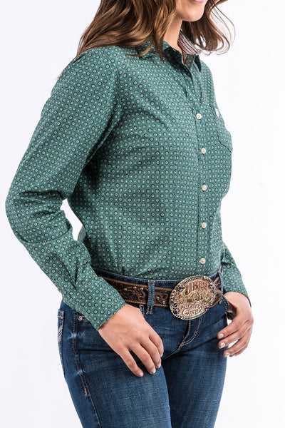 Cinch Ladies Green Arena Fit Button Down Shirt