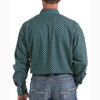 Cinch Mens Teal Hexagon Long Sleeve Shirt