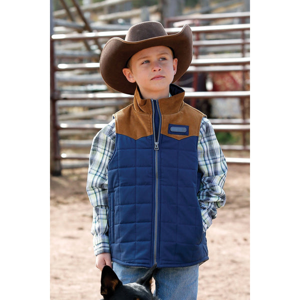 Cinch Boy's Quilted Blue Vest