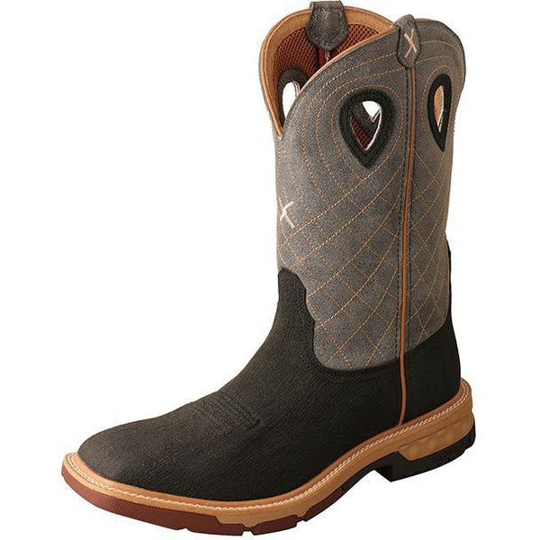 "Twisted X Men's 12"" Western Work Boot with CellStretch-Rubberized Brown/Grey"
