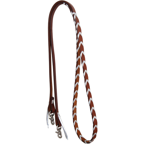 Rafter T Ranch Harness Leather Barrel Reins With Silver Platt