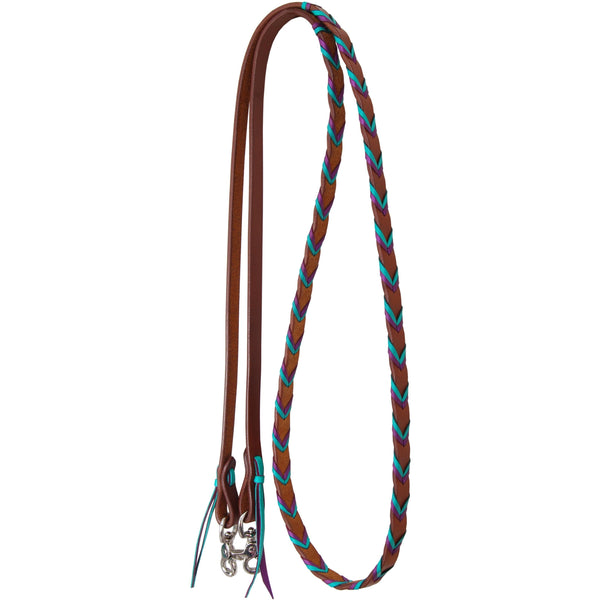 Rafter T Ranch Harness Leather Barrel Reins With Purple and Turquoise Platt