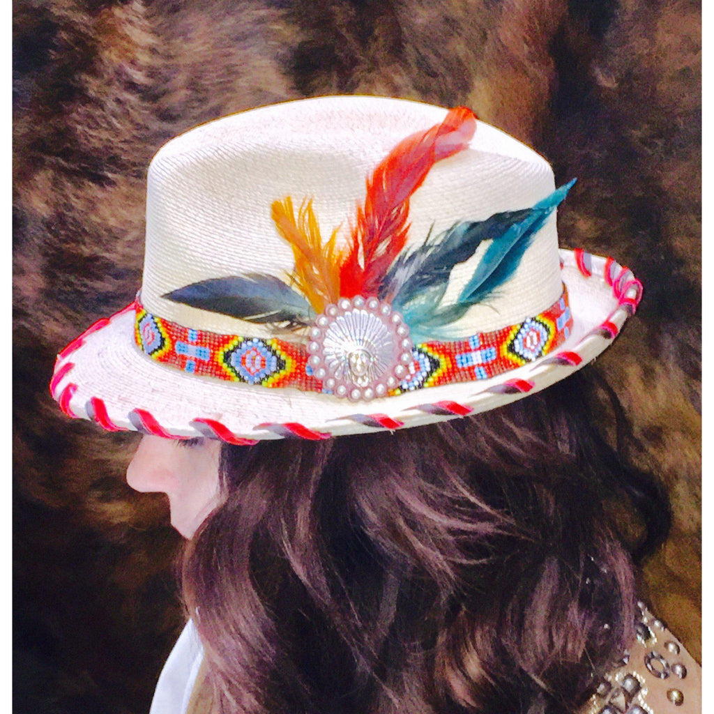 Ladies Palm Fedora with Red Beaded Band - West 20 Saddle Co.
