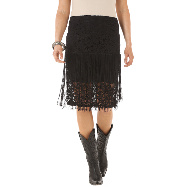 Women's Black Crochet and Fringe Skirt
