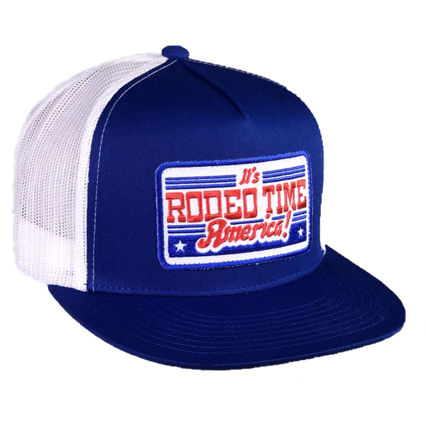 Dale Brisby Rodeo Time America Blue/White Mesh Flatbill