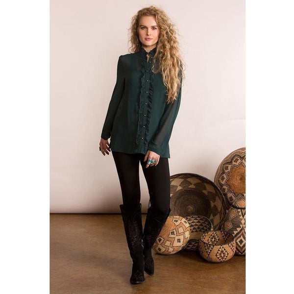 Double D Ranchwear Ruffled Tuxedo Blouse - West 20 Saddle Co.