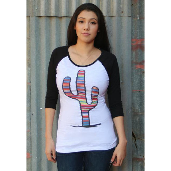 Red Barn Ranch Serape Prickly Cactus Baseball Tee - West 20 Saddle Co.