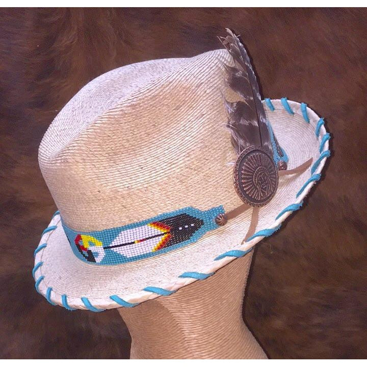 Ladies Palm Fedora with Turquoise Beaded Band