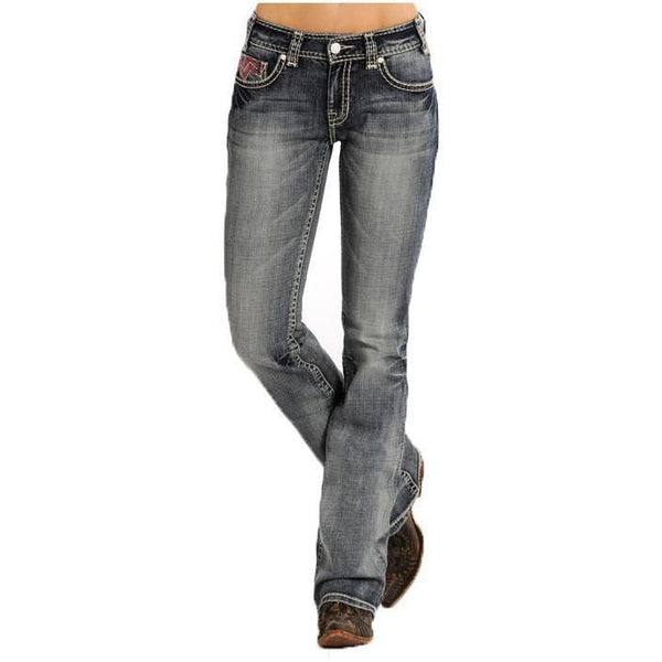 Panhandle Slim Mid Rise Rock&Roll Cowgirl - LT Vintage Wash Boot Cut Jean - West 20 Saddle Co.