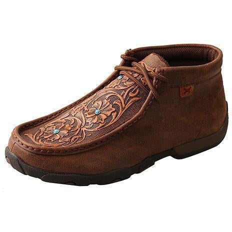 Twisted X Womens Chukka Driving Moccasins-Brown/Tooled Flowers