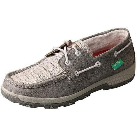 Twisted X Women's Boat Shoe Driving Moc with CellStretch-Grey