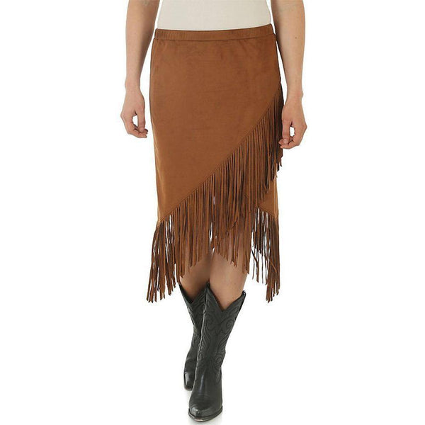 Wrangler Women's Faux Suede Envelope Hem Fringe Skirt - West 20 Saddle Co.