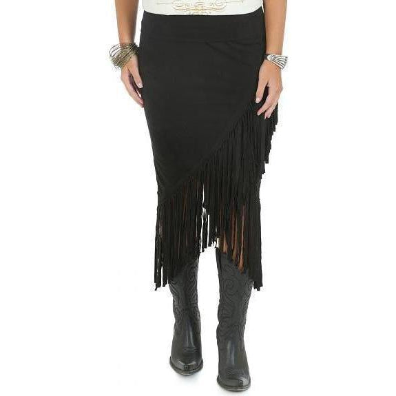 Wrangler Rock 47 Women's Black Skirt with Fringe - West 20 Saddle Co.