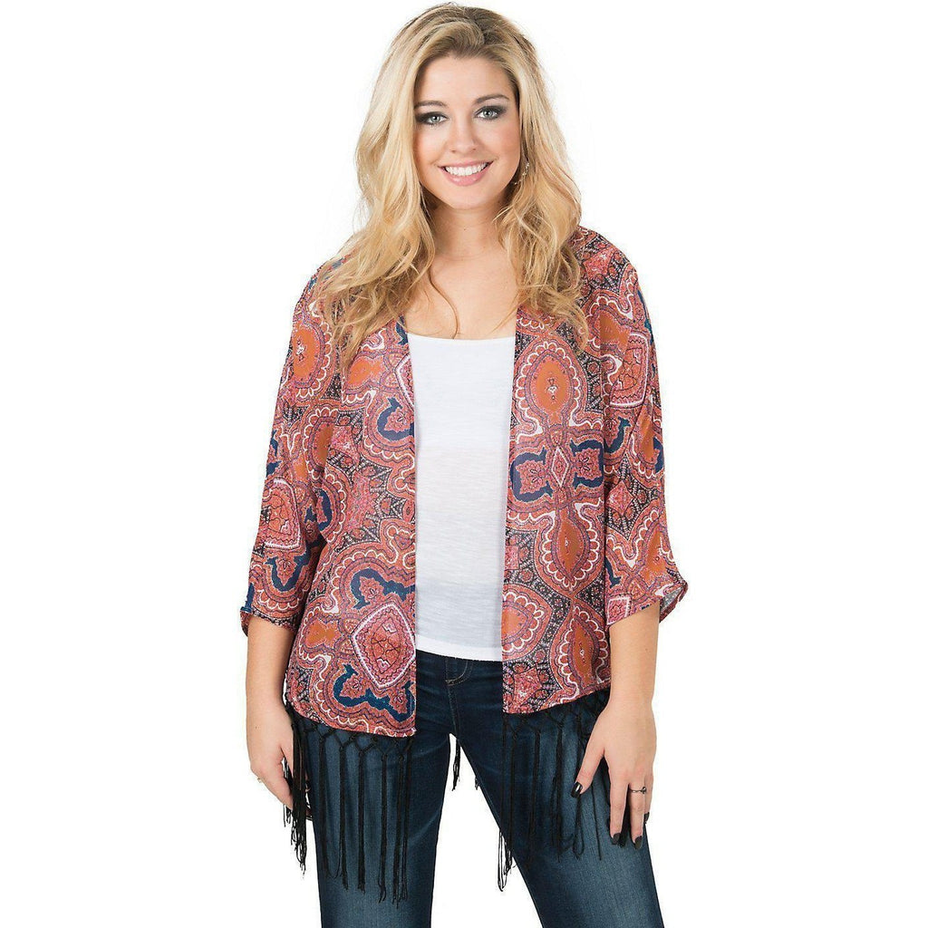 Wrangler Rock 47 Women's Pink and Rust Paisley Kimono - West 20 Saddle Co.