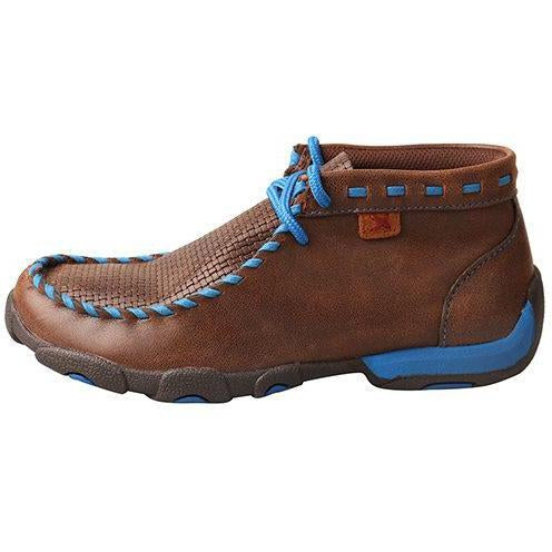 Twisted X Kids Chukka Driving Moccasins-Brown/Blue