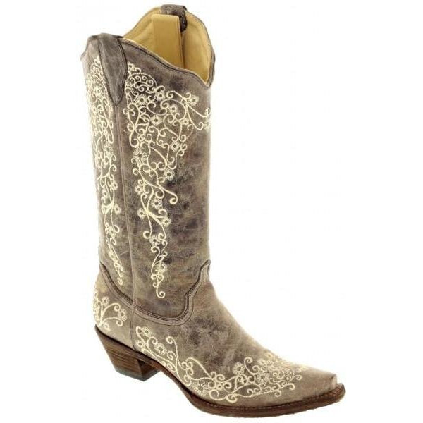 Corral Boots Brown Crater Bone Embroidery A1094 - West 20 Saddle Co.
