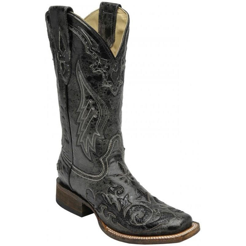 Corral Boots LD Black Snake Inlay A2402 - West 20 Saddle Co.