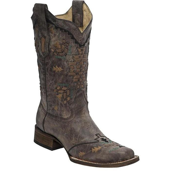 Corral Boots LD Cango Tobacco Laser Woven Square Toe A3063 - West 20 Saddle Co.