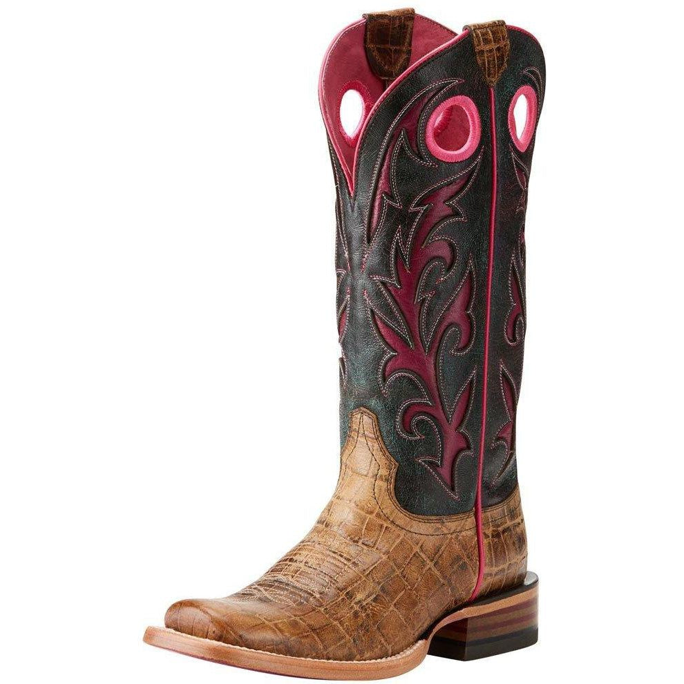 Ariat Women's Chute Out Boot-Antique Tan Croc/Crackled Teagenta