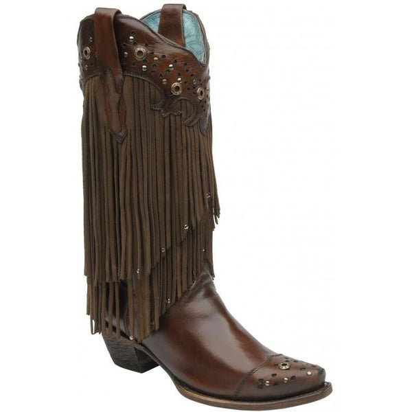 Corral Boots LD Sierra Tan Fringe & Studs C1185 - West 20 Saddle Co.
