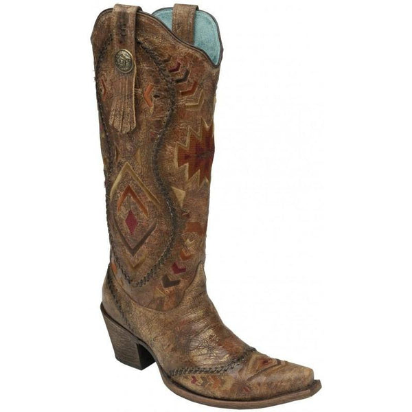 Corral Boots LD Cognac/ Multicolor Ethnic Pattern & Whip Stitch C2872 - West 20 Saddle Co.