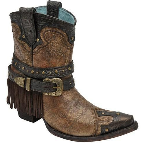 LD Metallic Cognac Strap With Fringe & Studs Ankle Boot C2880 - West 20 Saddle Co.