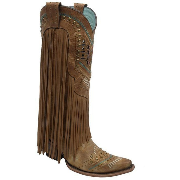 Corral Boots LD Tan/Multicolor Crystal Pattern & Fringe C2910 - West 20 Saddle Co.